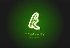 Diseño del icono del vector de la compañía del verde 3d del logotipo de la letra del alfabeto de K Foto de archivo