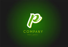 Diseño del icono del vector de la compañía del verde 3d del logotipo de la letra del alfabeto de P Fotografía de archivo libre de regalías
