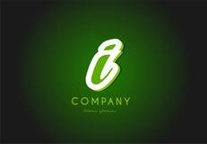 Diseño del icono del vector de la compañía del verde 3d del logotipo de la letra del alfabeto i Foto de archivo