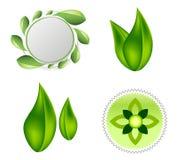 Diseño del icono del logotipo de la ecología de las hojas stock de ilustración
