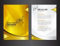 Diseño del informe anual de la cubierta del oro Fotos de archivo libres de regalías