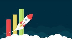 Diseño del jefe del sitio web con la carta de barra y Rocket Launc stock de ilustración