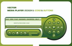 Diseño del jugador de Complet con los iconos y los botones del menú Imagen de archivo libre de regalías