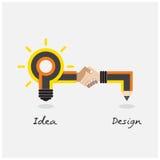 Diseño del lápiz creativo y de la bombilla Estilo plano del diseño moderno Fotografía de archivo libre de regalías