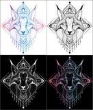 Diseño del lince de tatuajes y de color de las camisetas 4 libre illustration