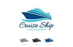 Diseño del logotipo del barco de cruceros del viaje ilustración del vector