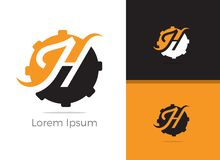 Diseño del logotipo de la letra de Tool H del mecánico, letra h en icono del vector del engranaje foto de archivo libre de regalías