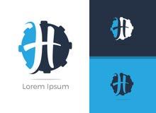 Diseño del logotipo de la letra de Tool H del mecánico, letra h en icono del vector del engranaje imagen de archivo libre de regalías