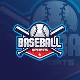 Diseño del logotipo de la mascota del vector del béisbol con el estilo moderno del concepto del ejemplo para la impresión de la i stock de ilustración