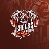 Diseño del logotipo de la mascota del vector de Eagle con el estilo moderno del concepto del ejemplo para la impresión de la insi stock de ilustración