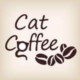 Diseño del logotipo del café del gato Ilustración del vector Imagen de archivo