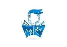 Diseño del logotipo del lector del libro Imagenes de archivo