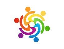 Diseño del logotipo del trabajo del equipo, extracto de la gente, negocio moderno, conexión Imagen de archivo libre de regalías