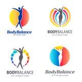 Diseño del logotipo del vector de la aptitud y de la salud Sistema del logotipo de la balanza del cuerpo Fotos de archivo