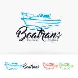 Diseño del logotipo del vector del transporte del barco Imágenes de archivo libres de regalías