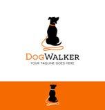 Diseño del logotipo para el perro que camina o que entrena Foto de archivo