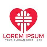Diseño del logotipo del vector de la iglesia de la gente Logotipo de la forma del corazón libre illustration