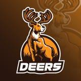 Diseño del logotipo del vector de la mascota de los ciervos con el estilo moderno del concepto del ejemplo para la impresión de l stock de ilustración