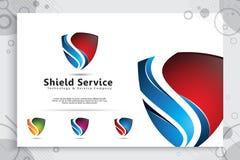 diseño del logotipo del vector de la tecnología del escudo 3d con el concepto moderno, símbolo abstracto del ejemplo de la seguri ilustración del vector