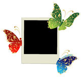 Diseño del marco de la foto con la decoración de la mariposa Imagenes de archivo