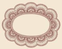 Diseño del marco del Doodle de Paisley del tapetito del cordón de la alheña Fotografía de archivo