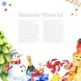Diseño del marco del invierno de la acuarela Foto de archivo libre de regalías