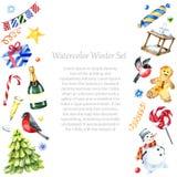 Diseño del marco del invierno de la acuarela Fotografía de archivo