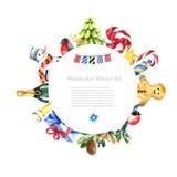 Diseño del marco del invierno de la acuarela Imagenes de archivo