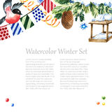Diseño del marco del invierno de la acuarela Imagen de archivo libre de regalías