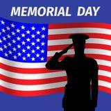 Diseño del Memorial Day con la soldadura que saluda Imagen de archivo