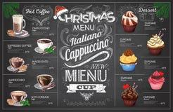 Diseño del menú del coffe de la Navidad del dibujo de tiza del vintage Restaurante yo ilustración del vector