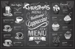 Diseño del menú del coffe de la Navidad del dibujo de tiza del vintage Restaurante yo stock de ilustración