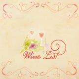 Diseño del menú de la acuarela del vintage, diseño simple del menú de la carta de vinos Imagen de archivo