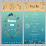 Diseño del menú de la barra de la playa Fotografía de archivo libre de regalías
