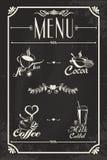 Diseño del menú de la bebida del restaurante con la pizarra Foto de archivo libre de regalías