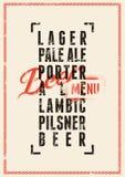 Diseño del menú de la cerveza Cartel de la cerveza del estilo del grunge del vintage Ilustración del vector Foto de archivo libre de regalías