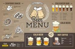 Diseño del menú de la cerveza del vintage en la cartulina stock de ilustración