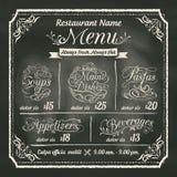 Diseño del menú de la comida del restaurante con el fondo de la pizarra ilustración del vector