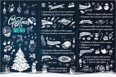 Diseño del menú de la Navidad Folleto del vector del estilo de la tiza ilustración del vector