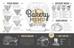 Diseño del menú de la panadería del vintage La cena de boda con la carne del rodillo fumó y los tomates Foto de archivo libre de regalías