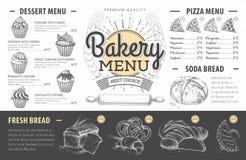 Diseño del menú de la panadería del vintage La cena de boda con la carne del rodillo fumó y los tomates Foto de archivo