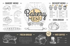 Diseño del menú de la panadería del vintage La cena de boda con la carne del rodillo fumó y los tomates Fotos de archivo