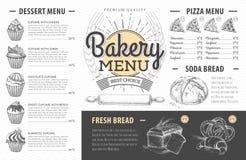 Diseño del menú de la panadería del vintage La cena de boda con la carne del rodillo fumó y los tomates Imagen de archivo