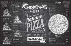 Diseño del menú de la pizza de la Navidad del dibujo de tiza del vintage Restaurante yo stock de ilustración