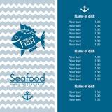 Diseño del menú de los mariscos Fotos de archivo