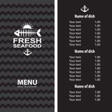 Diseño del menú de los mariscos Imagen de archivo