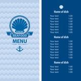 Diseño del menú de los mariscos Imágenes de archivo libres de regalías