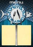 Diseño del menú de los pescados Fotos de archivo