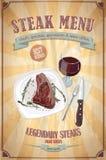 Diseño del menú del filete con el ejemplo gráfico de un filete de prendedero en una placa y un vidrio de vino Fotos de archivo