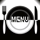 Diseño del menú del restaurante - blanco y negro. Foto de archivo